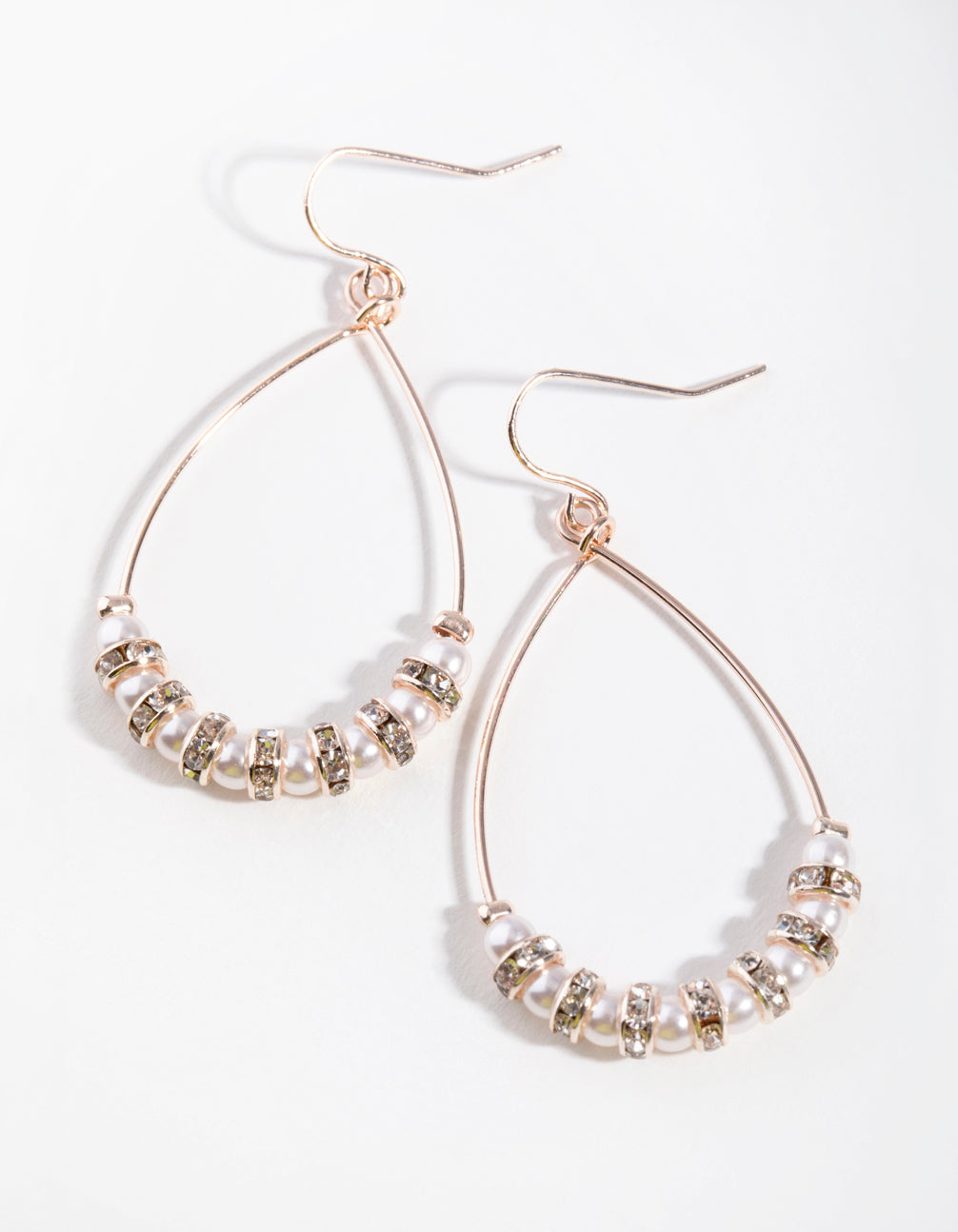 Rose Gold Bead and Diamante Hoop Earrings