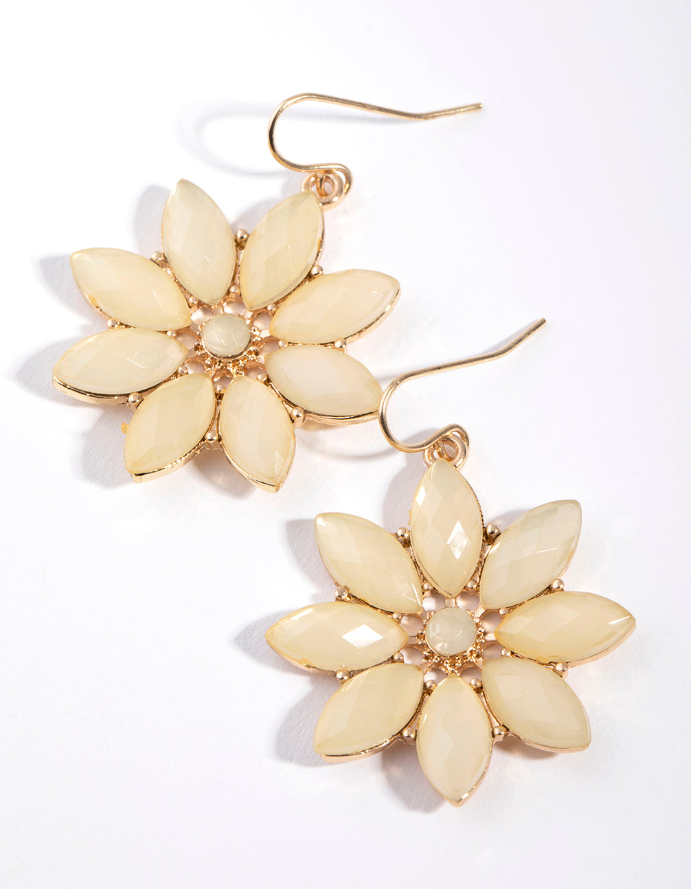 Gold Stone Flower Drop Earrings
