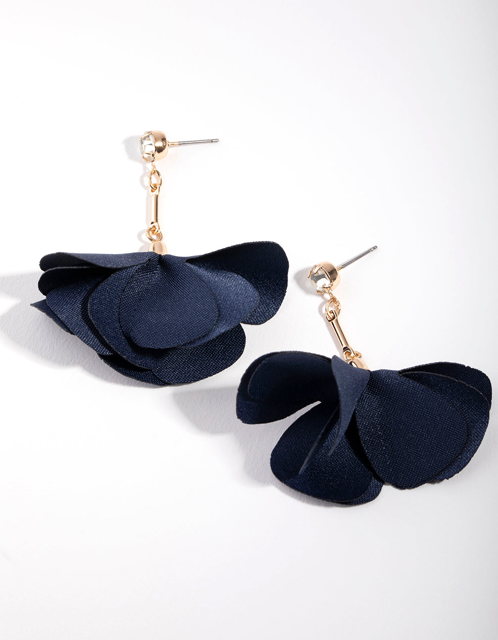 Gold Diamante Fabric Flower Drop Earrings