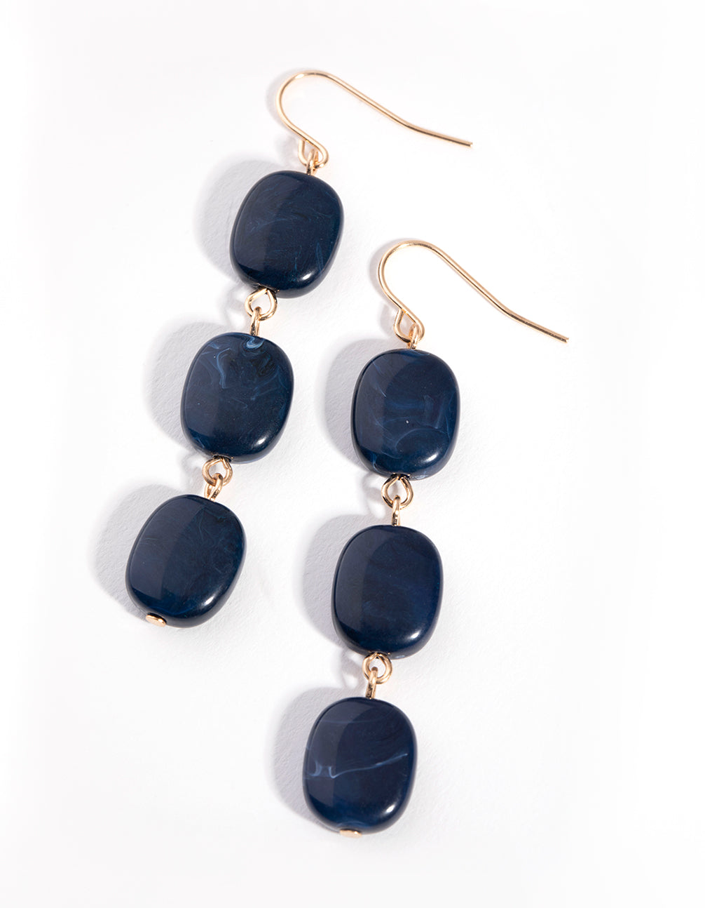 Blue Tripple Square Bead Drop Earrings