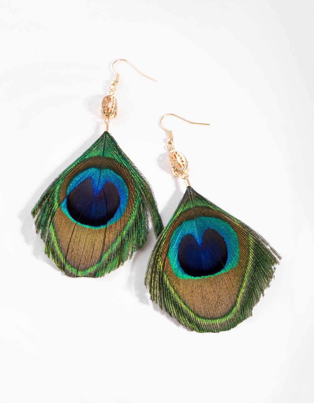 Gold Peacock Feather Drop Earrings