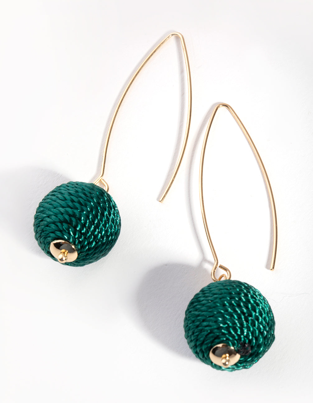Gold Thread-Wrapped Ball Drop Earrings