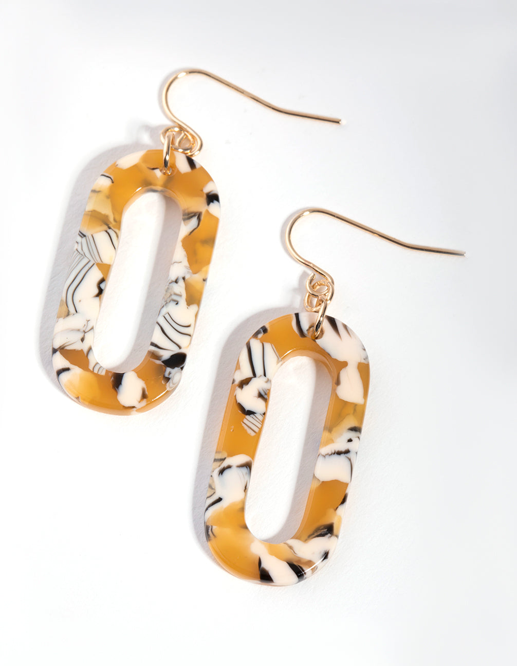 Gold Acrylic Oval Drop Earrings