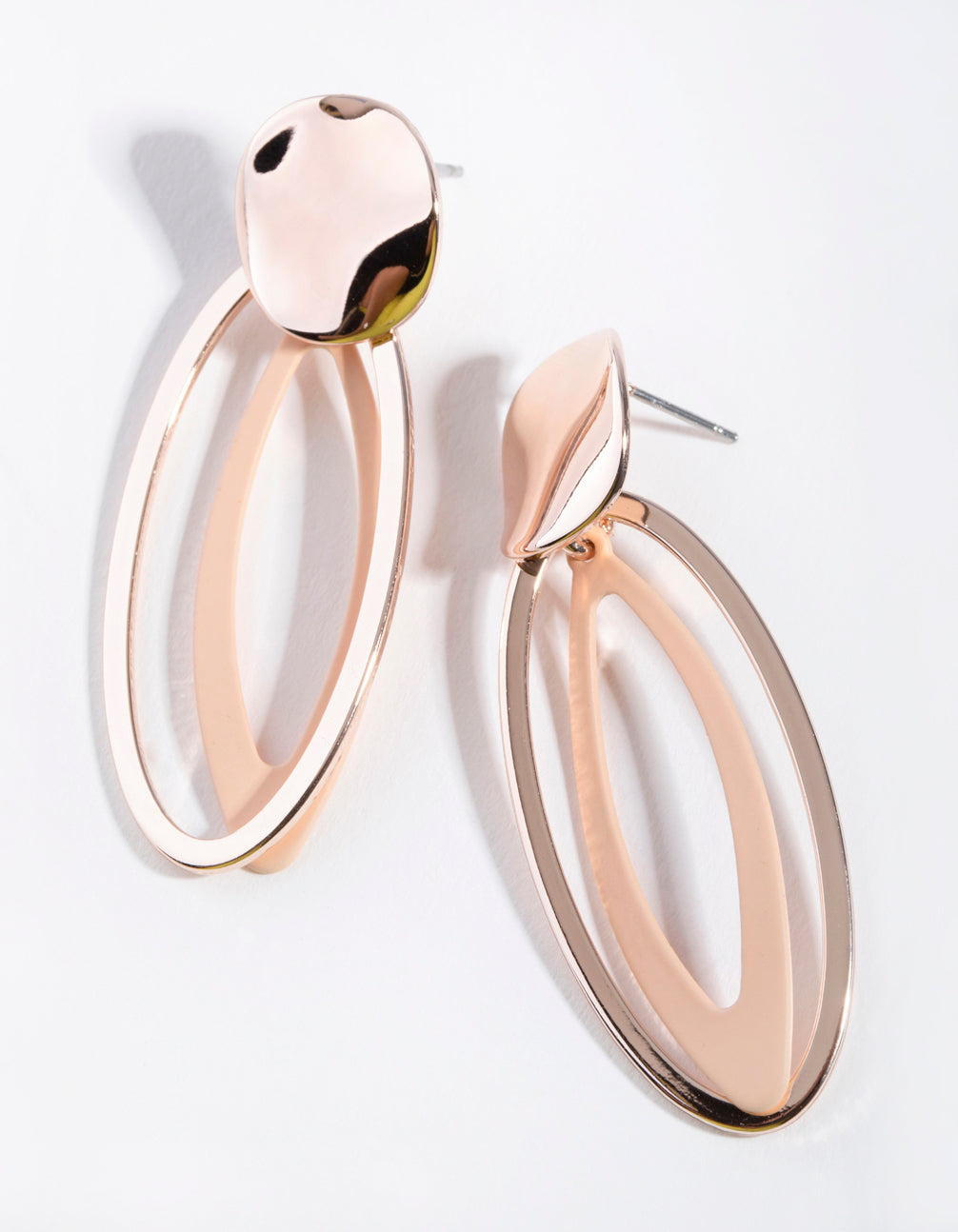 Rose Gold Abstract Open Oval Drop Earrings