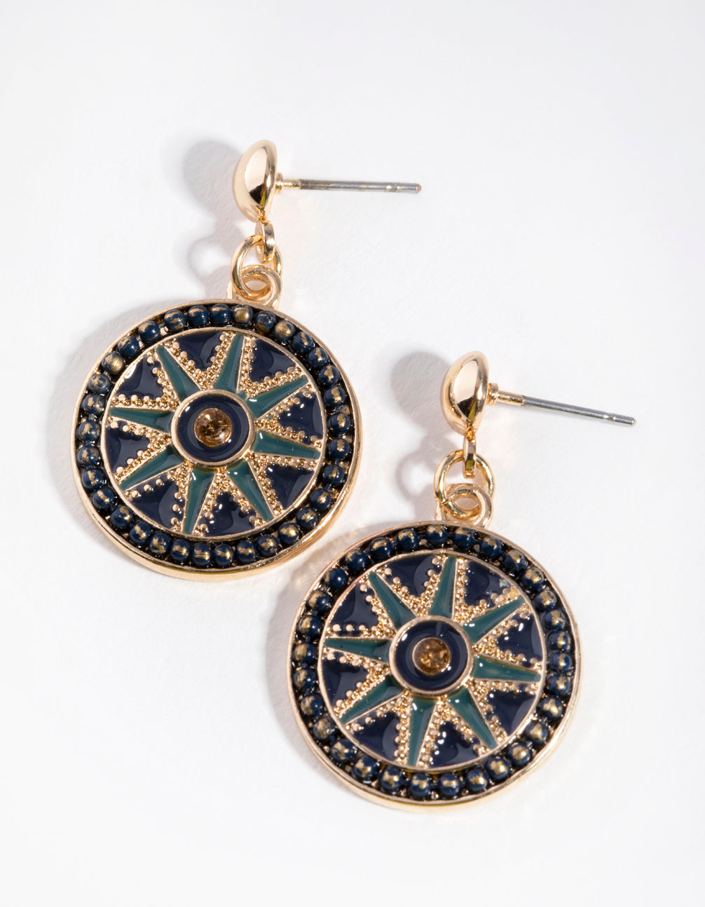 Gold Enamel Star Disc Drop Earrings
