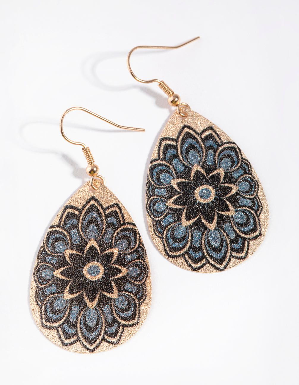 Gold Flower Pattern Drop Earrings