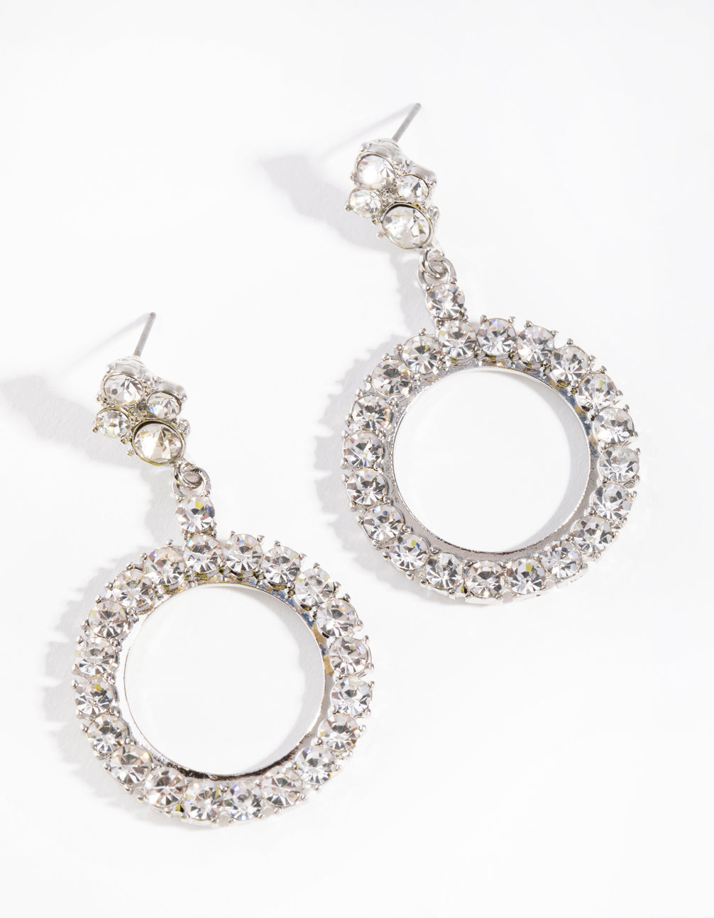 Rhodium Diamante Open Circle Drop Earrings