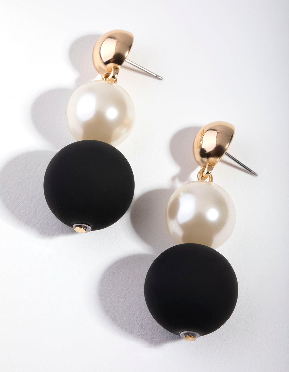 Gold Triple Ball Drop Earrings