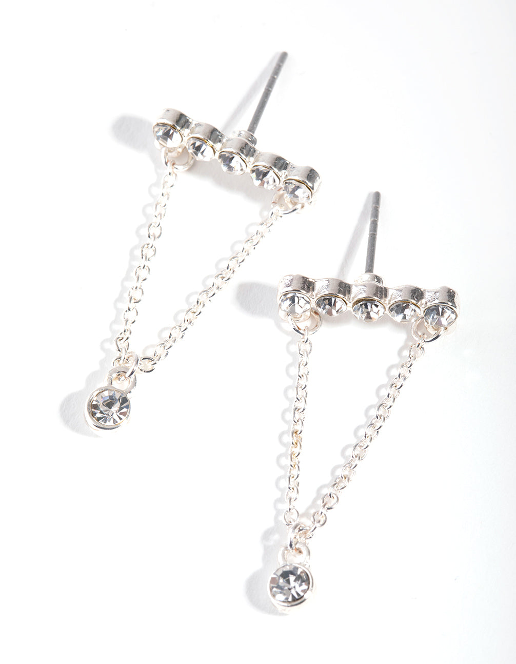 Silver Diamante Bar Chain Stud Earrings