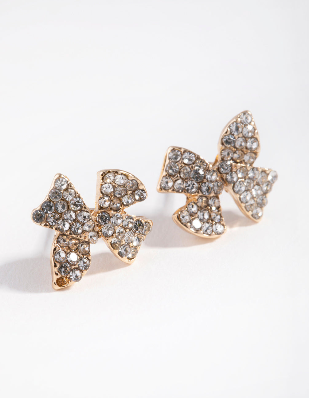 Gold Diamante Bow Stud Earrings