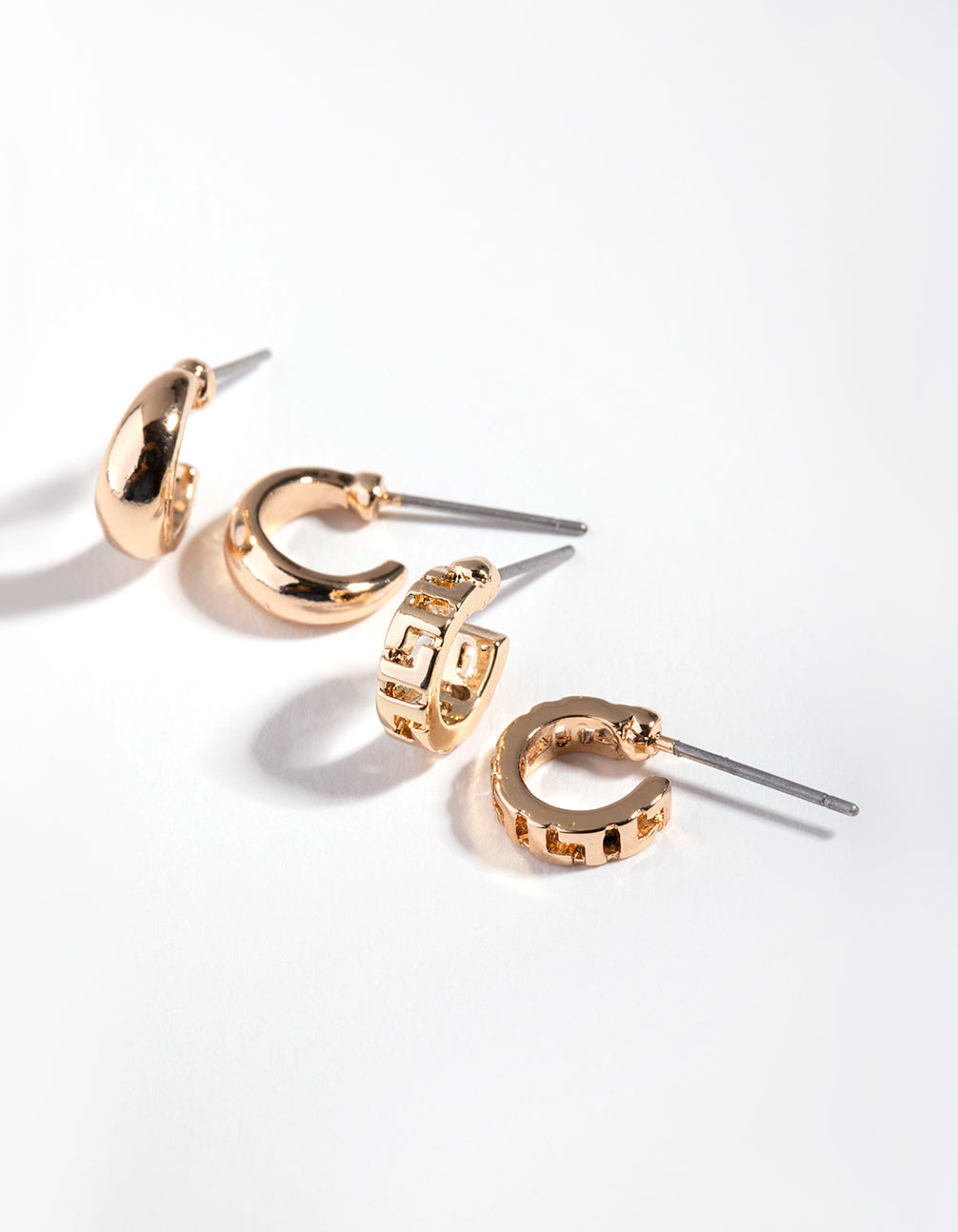Gold Double Huggie 2-Pack Hoop Earrings