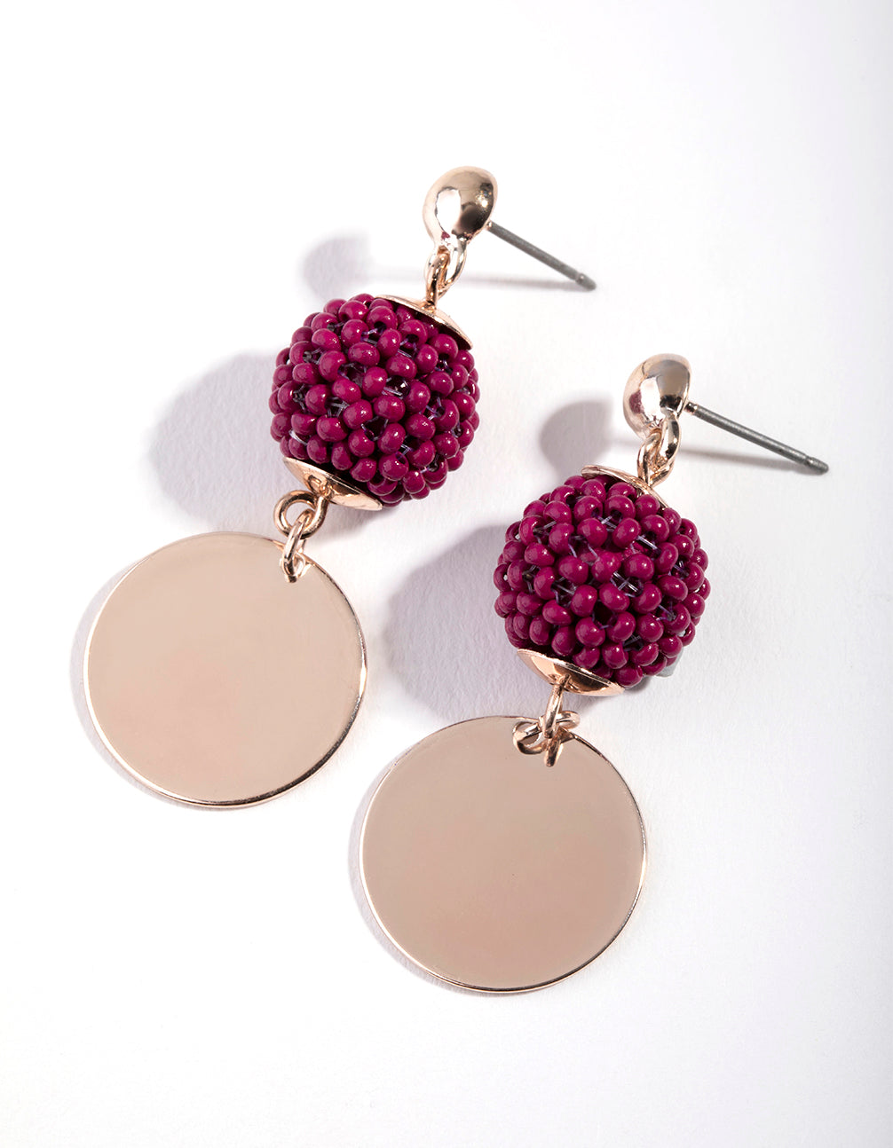 Rose Gold Bead Ball and Disc Drop Earrings