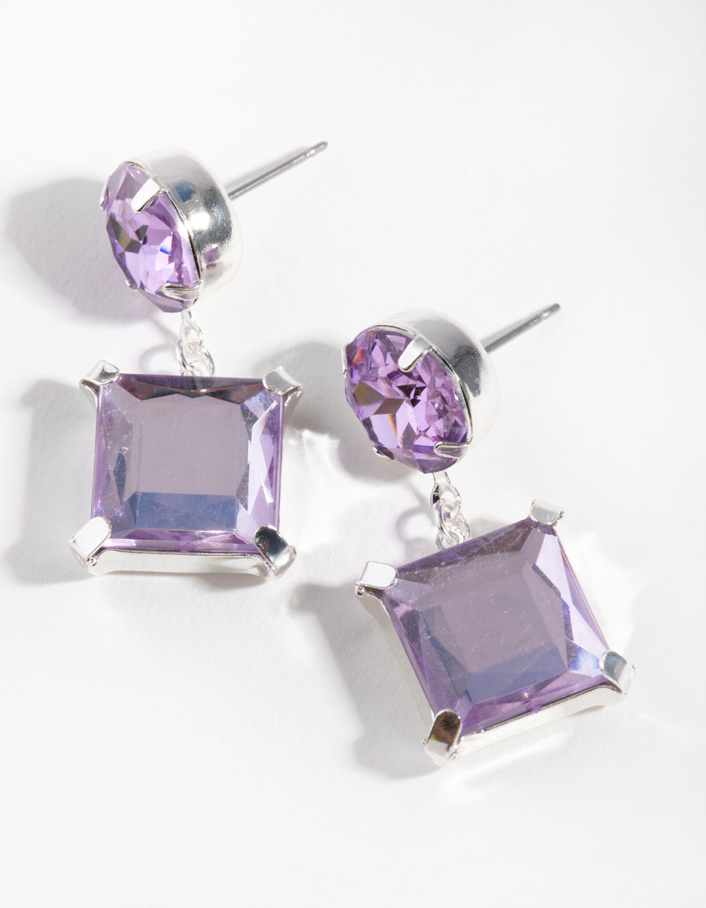Silver Square Stone Drop Earrings