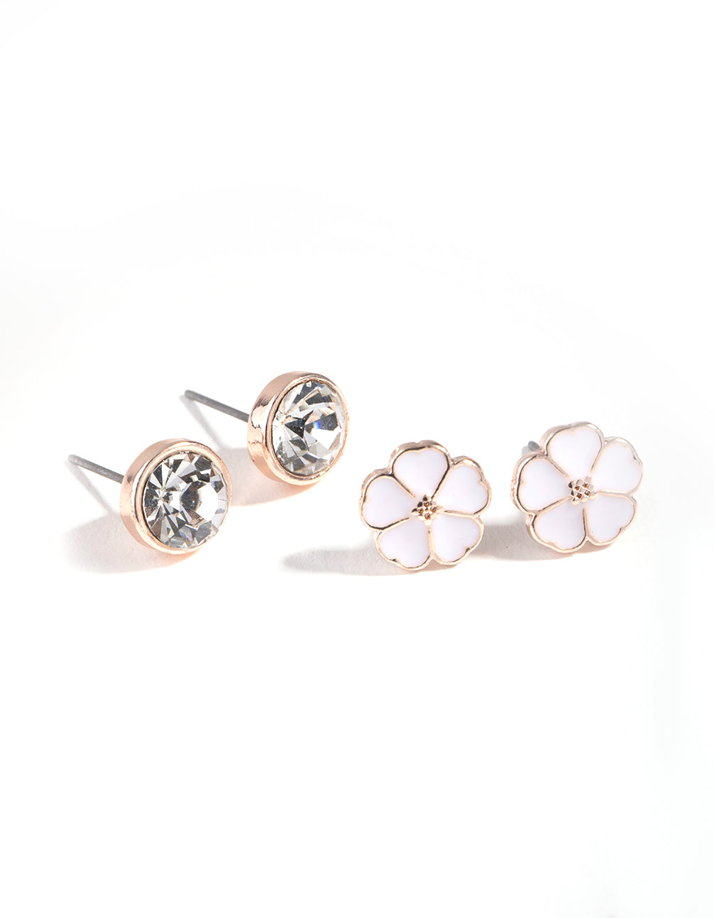 Rose Gold Enamel Flower 2-Pack Stud Earrings