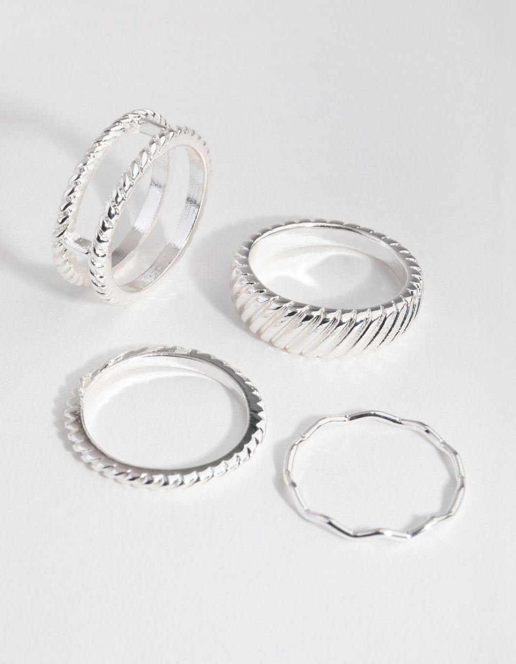 Real Silver Plated Thick Fashion 4-Pack Rings