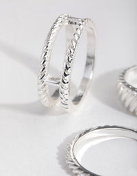 Real Silver Plated Thick Fashion 4-Pack Rings - link has visual effect only