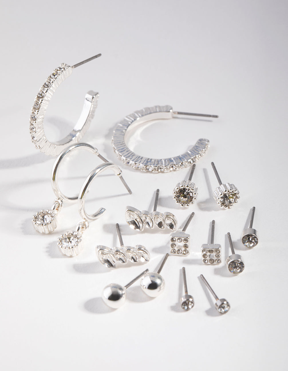 Silver Plain Diamante Stud 8-Pack Earrings