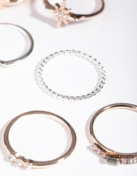 Mixed Metals Diamante Moon Star Rings - link has visual effect only