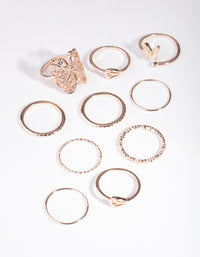 Rose Gold Filigree Butterfly Rings - link has visual effect only