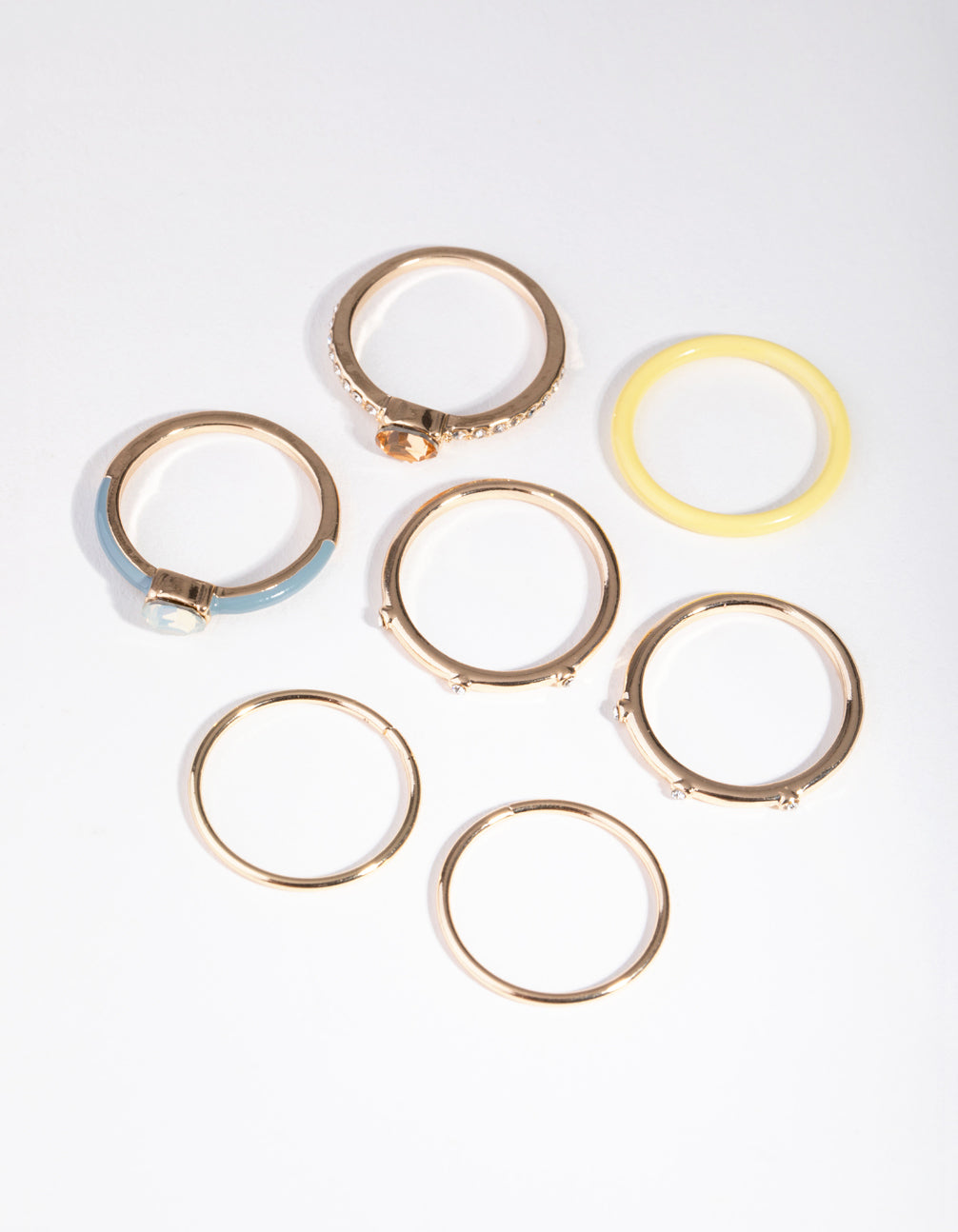 Gold Fine Matte Mix 7-Pack Rings