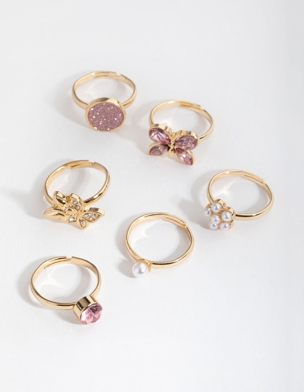 Gold Butterfly and Diamante 6-Pack Rings