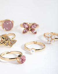 Gold Butterfly and Diamante 6-Pack Rings - link has visual effect only