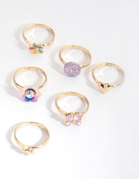 Gold Flower Garden 6-Pack Rings - link has visual effect only