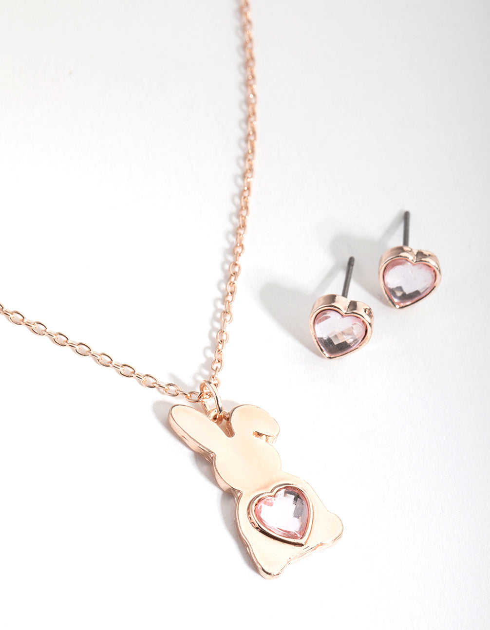 Heart Bunny Gift Box Necklace and Earring Set