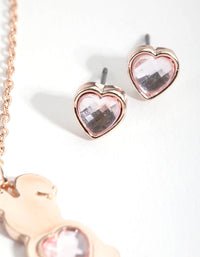 Heart Bunny Gift Box Necklace and Earring Set - link has visual effect only