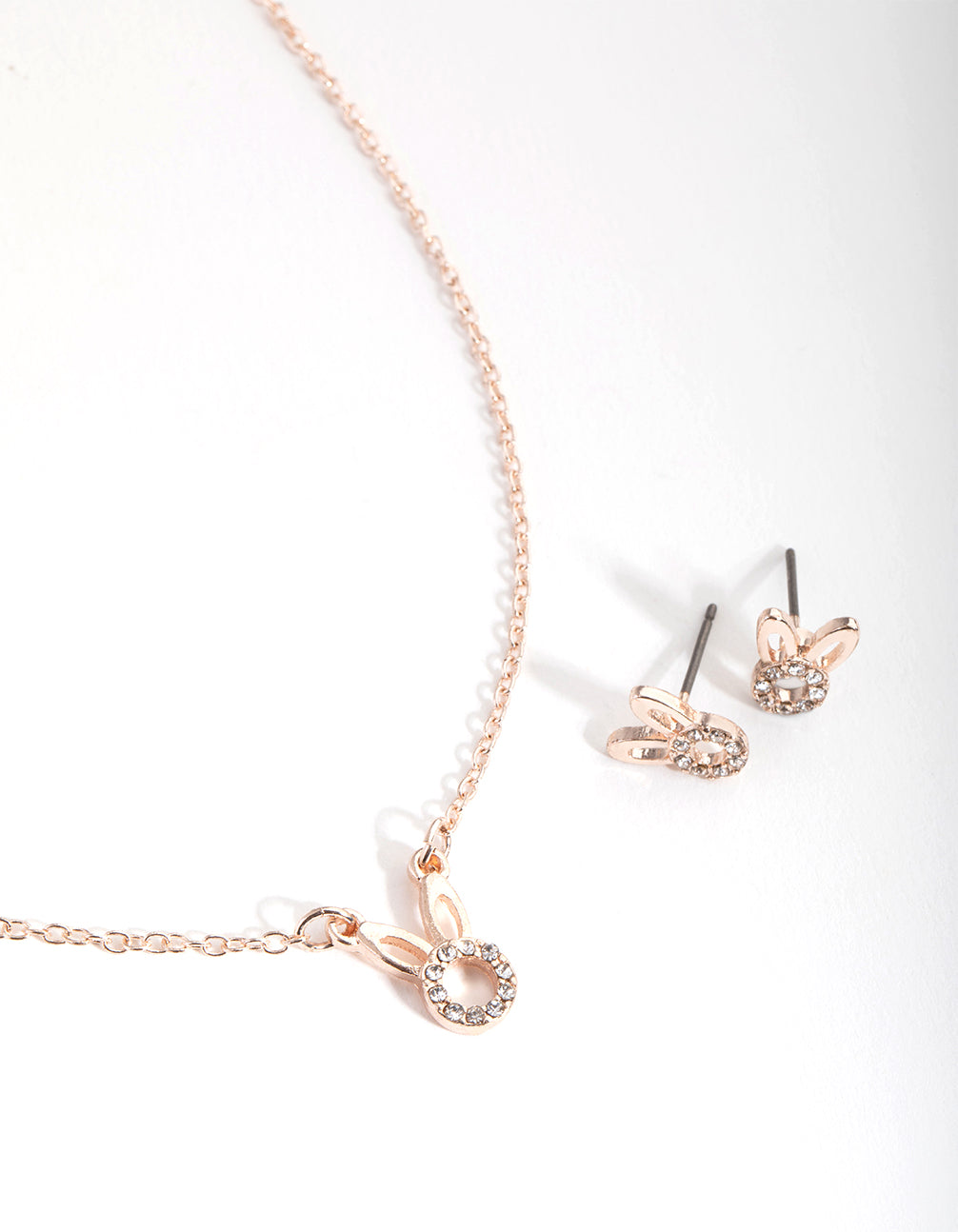 Rose Gold Diamante Bunny Necklace and Earrings