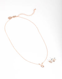 Rose Gold Diamante Bunny Necklace and Earrings - link has visual effect only