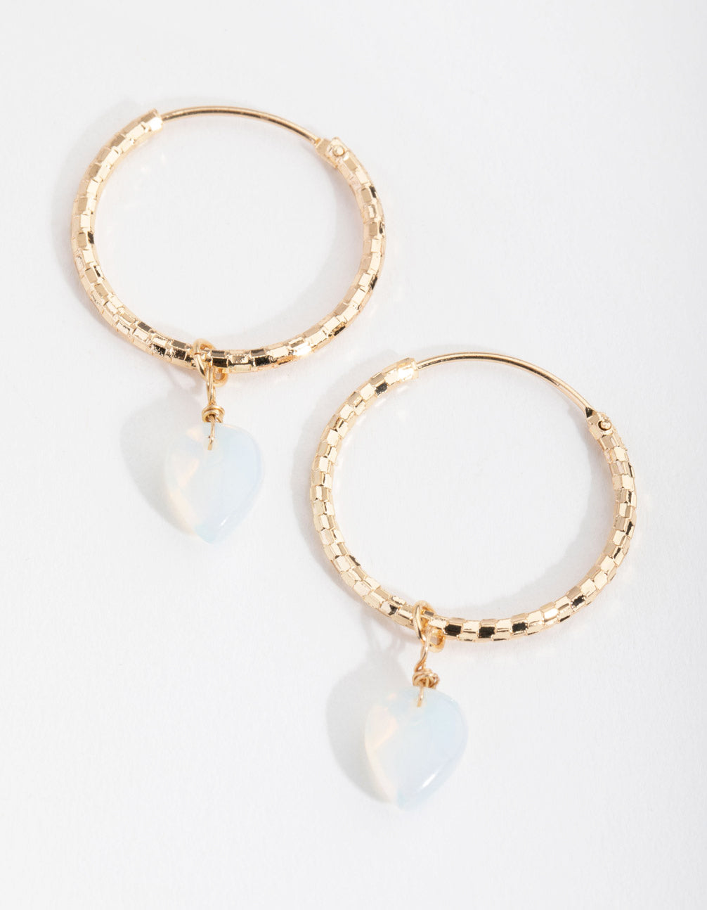 Gold Diamond-Cut Hoop Drop Earrings