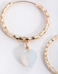 Gold Diamond-Cut Hoop Drop Earrings - link has visual effect only