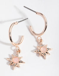 Rose Gold Star Drop Huggie Earrings - link has visual effect only