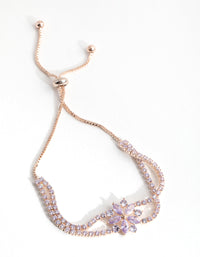 Rose Gold Cubic Zirconia Cupchain Flower Toggle Bracelet - link has visual effect only