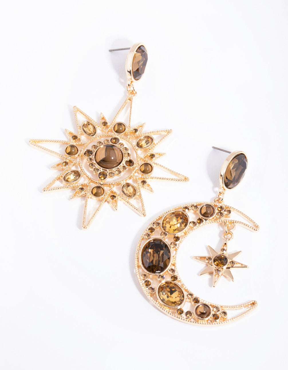 Gold Statement Star and Moon Earrings