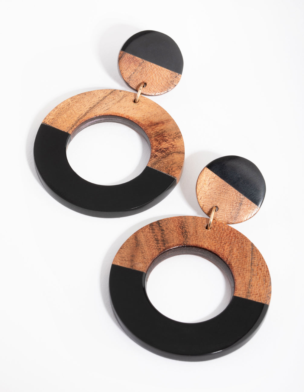 Acrylic and Wood Drop Earrings