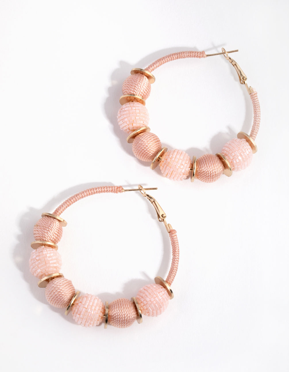 Gold Thread Seed Bead Hoop Earrings