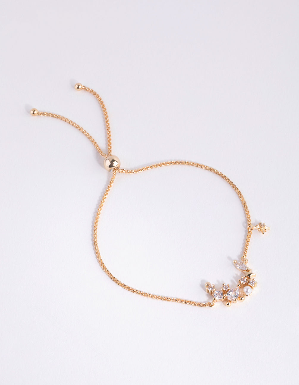 Gold Cubic Zirconia Star Toggle Bracelet