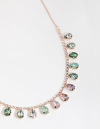 Rose Gold Teardrop Stone Drop Necklace - link has visual effect only