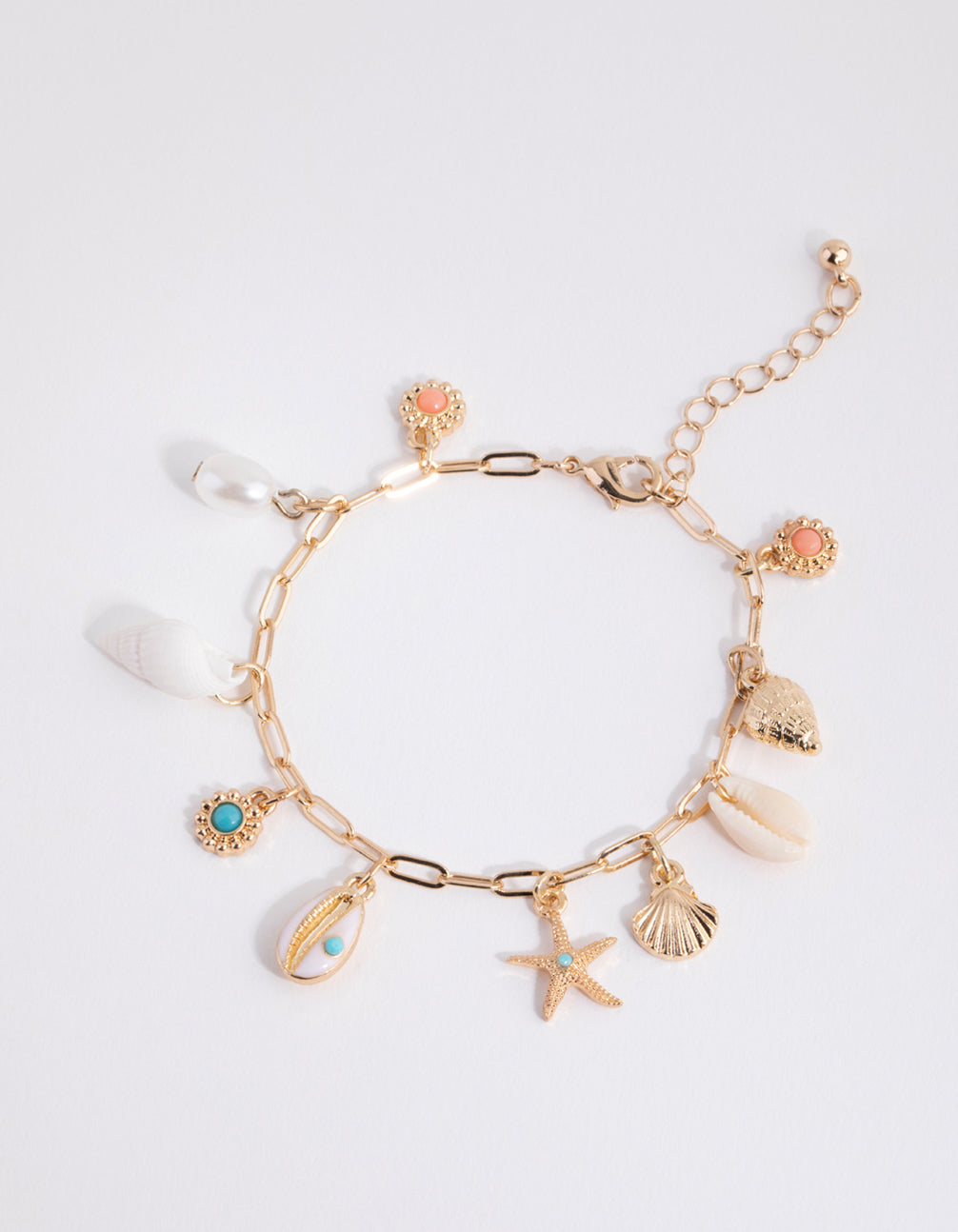 Gold Shell Conch Charm Bracelet