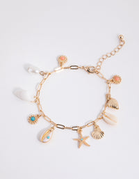 Gold Shell Conch Charm Bracelet - link has visual effect only
