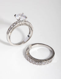 Diamond Simulant Engagement and Wedding 2-Pack Rings - link has visual effect only
