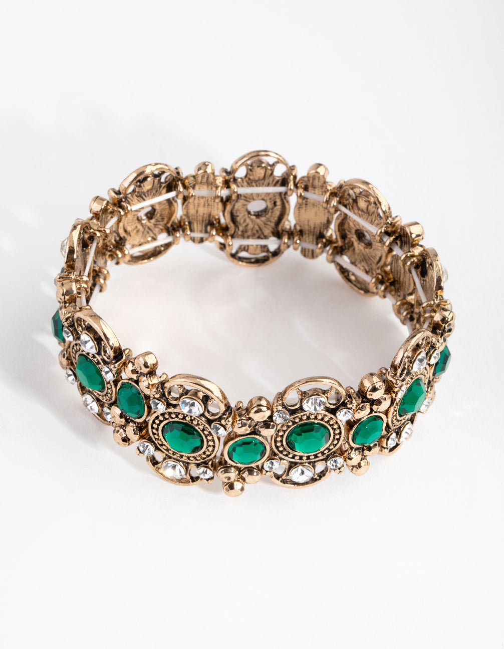 Antique Gold Filigree Stone Stretch Bracelet