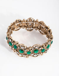 Antique Gold Filigree Stone Stretch Bracelet - link has visual effect only