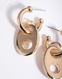 Gold Mariner Chain Huggie Earrings - link has visual effect only