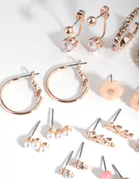 Rose Gold Flower and Pearl 16-Pack Earrings - link has visual effect only