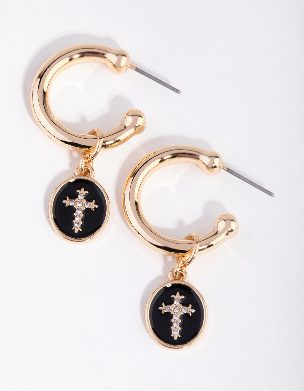Gold Cross Disc Huggie Earrings