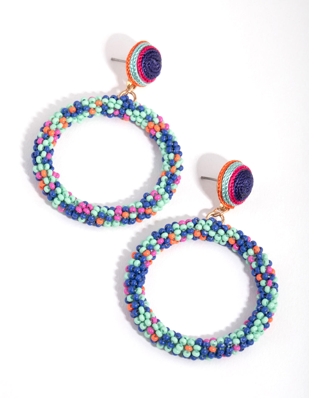 Seedbead Blue Sprinkles Circle Drop Earrings
