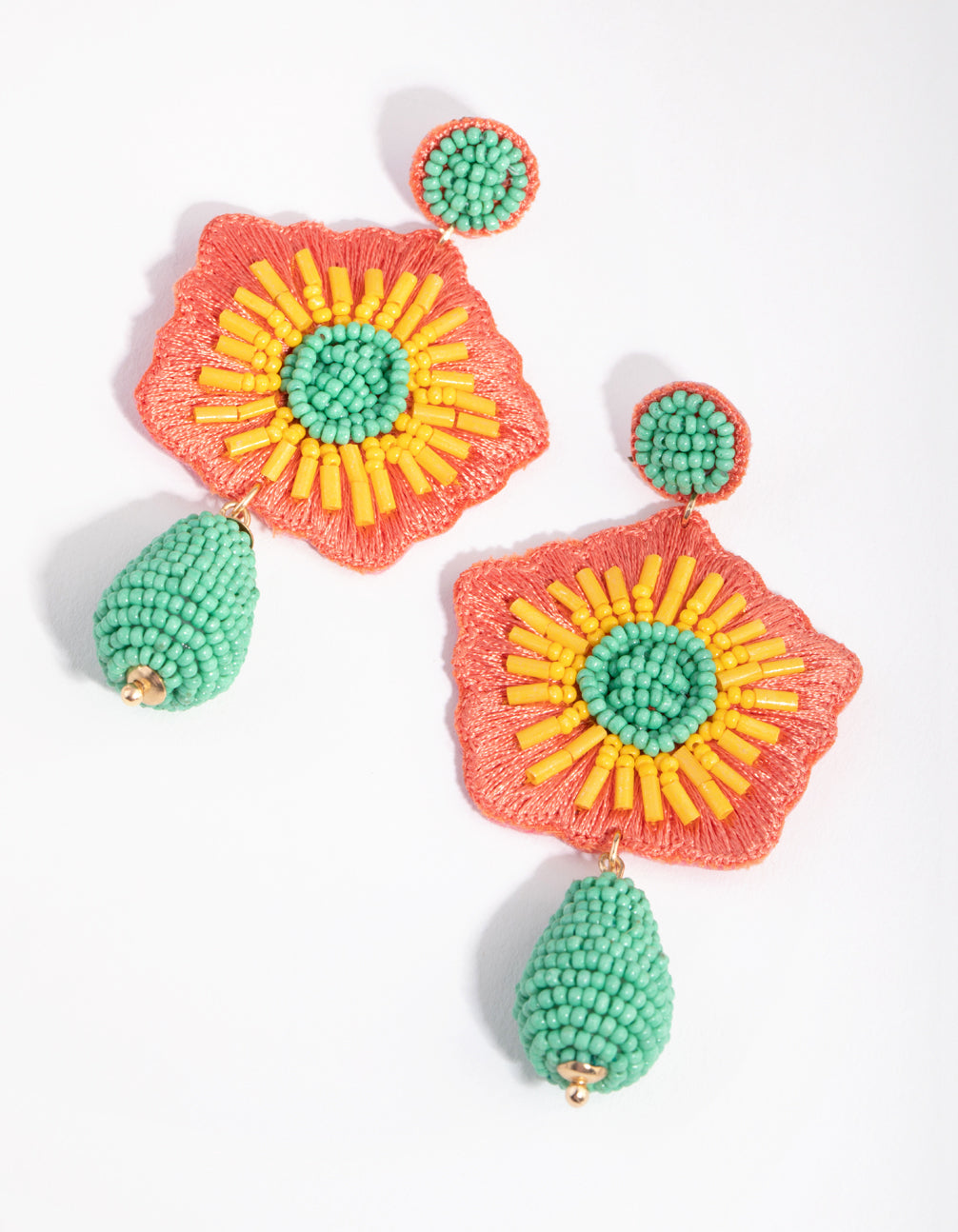 Seed Bead Statement Flower Drop Earrings